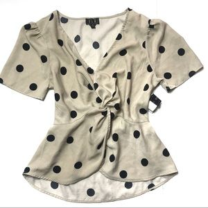 OLM tan polka dot peplum top blouse size medium